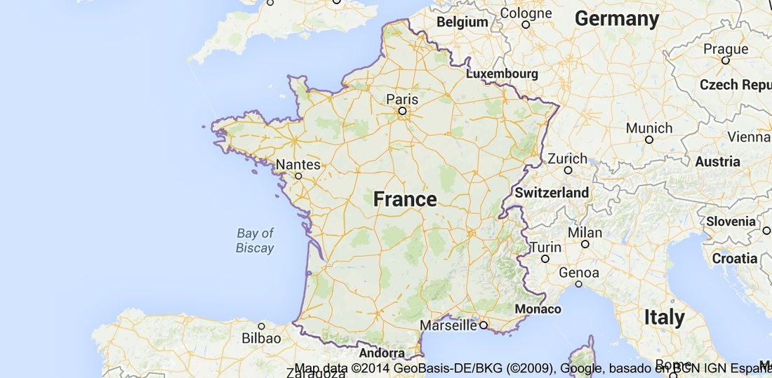 this is a map of all of france as you can see the neighboring countries are germany austria italy and spain the closest water area is the atlantic and